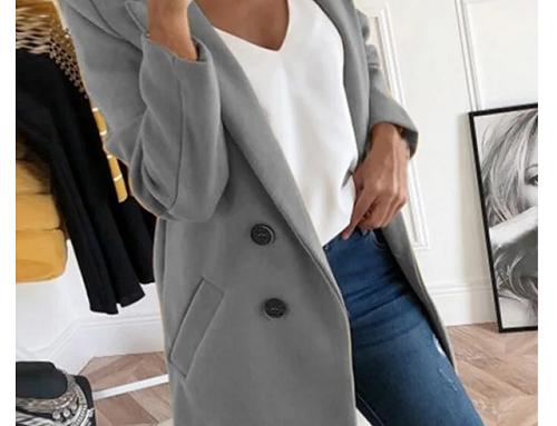 Palton Eliette TLzH3MQ de damă elegant gri din stofă netedă cu buzunare oblice și guler clasic