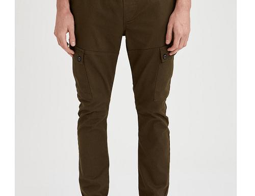 Pantaloni SPG2wH DeFacto pentru bărbați stil Cargo, kaki, din bumbac neted și cu talie elastică