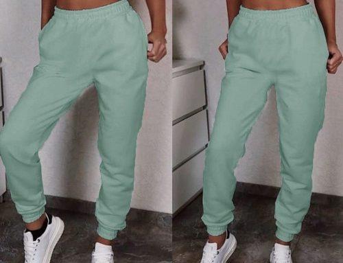 Pantaloni de trening Gwenn TMGwB5F de damă din bumbac elastic verzi cu buzunare și manșetă elastică