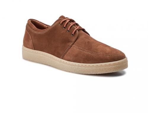 Pantofi bărbați Gino Rossi TBQ-HwT3M casual din piele naturală, maro, cu talpă plată
