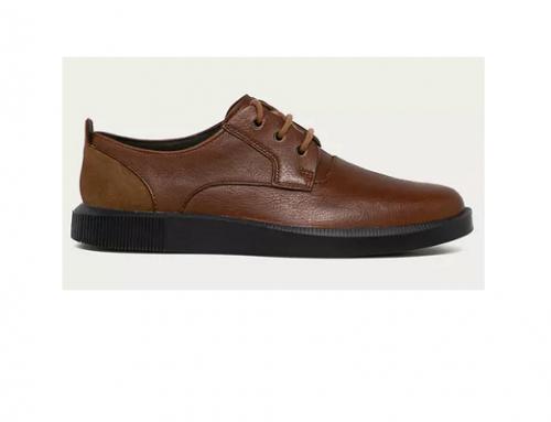 Camper G-FwS3UBQ, pantofi casual pentru bărbați din piele naturală maro cu talpă plată