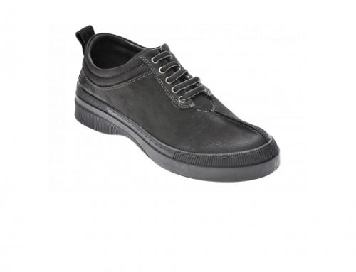 Flavia Passini LSH-DwG4B, pantofi de damă casual din piele naturală negri cu șiret, talpă joasă și toc plat