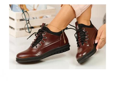 Pantofi de damă Gillan SwDFVQL casual cu talpă plată și șiret, bordo, din piele ecologică