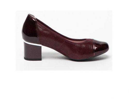 Pantofi WsnZ5MU Caprice de damă office din piele naturală lăcuită cu toc masiv, violet prună