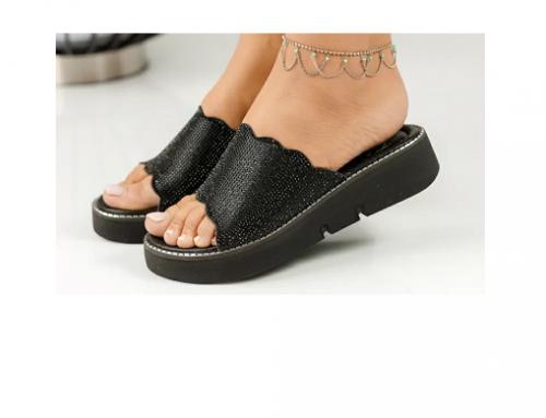 Papuci Elvirre SPZ-Wd5M de damă negri casual, de stradă, din piele ecologică, cu platformă