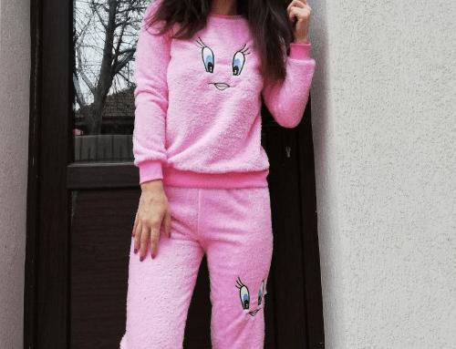 Pijama Verona DLB-WmH4Q de damă roz lejeră din material gros, cu bluză cu mâneci lungi