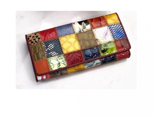 Portofel de damă Sienna LPQ-Sw3M cu imprimeu multicolor casual din piele naturală