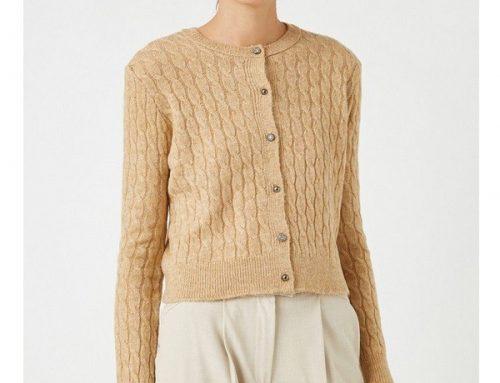 Koton GbdwQ2M, pulover de damă scurt maro camel cu nasturi, casual, cu design cu torsade
