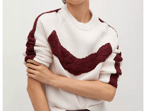 Pulover de damă tricotat gros SwSF5NG Mango drept cu aplicație decorativă și croială dreaptă
