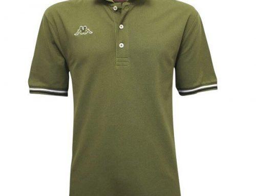 Tricou Polo Qhmd5TL Kappa pentru bărbați din bumbac moale, stil casual, drept, verde oliv