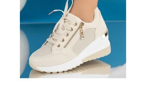 Pantofi sport de damă SySqdwDQ Bear bej din piele ecologică cu platformă și fermoar lateral