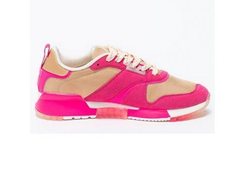 Pantofi sport DLSw2BQ Scotch & Soda de damă fucsia cu talpă plată, din piele naturală și material textil