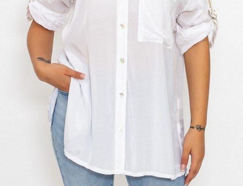 Cămașă M&Mei TLU3QLS pentru femei albă lejeră din material vaporos cu mâneci reglabile