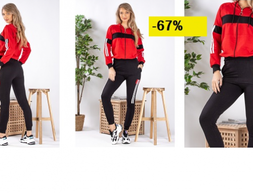 Promoția zilei: Trening de damă la reduceri cu -67%, confecționat din bumbac, cu bluză și pantaloni