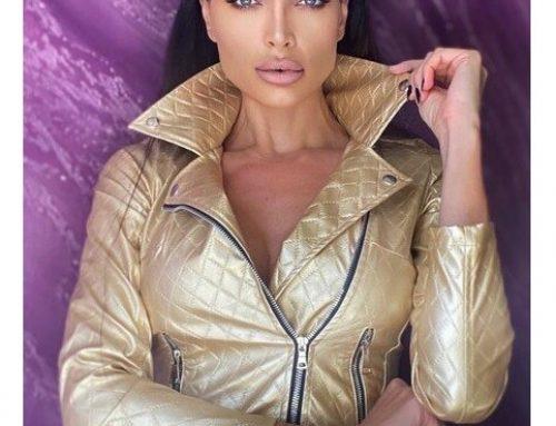 Diva Foggi WDYsdm4TL, geacă scurtă pentru femei aurie din piele ecologică cambrată