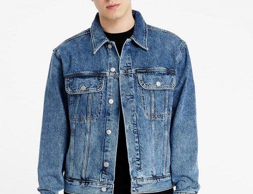 Geacă de blugi QLFswd4M Calvin Klein scurtă pentru bărbați casual dreaptă, albastră, cu buzunare la piept