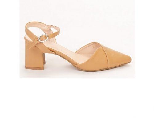 Pantofi cu vârf ascuțit Naden QSDyws3L de damă eleganți cu toc gros și baretă, din piele ecologică