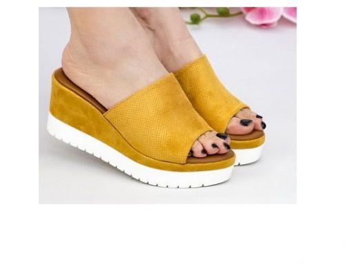 Papuci HSqw3MLT Mei de damă galbeni casual cu platformă căptușiți cu piele ecologică