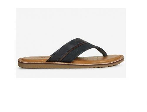 Papuci bărbați SDZ-TLsw43U Geox din piele naturală casual negri cu baretă largă și talpă plată