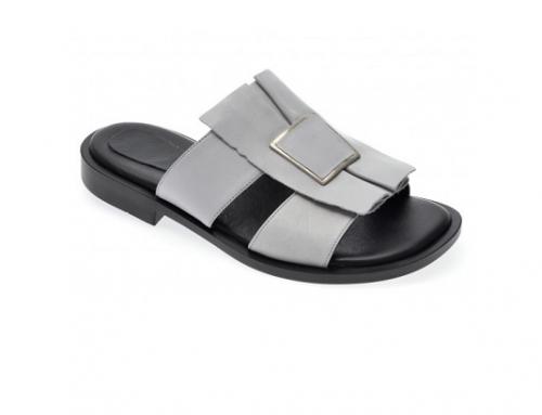 Le Berde QSYwm3HL, papuci de damă Slip-On casual din piele naturală, gri, cu toc jos