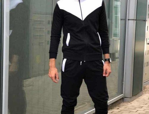 Trening TGQ-Ldsw3MT pentru bărbați negru din bumbac cu bluză cu fermoar și pantaloni cu terminație elastică