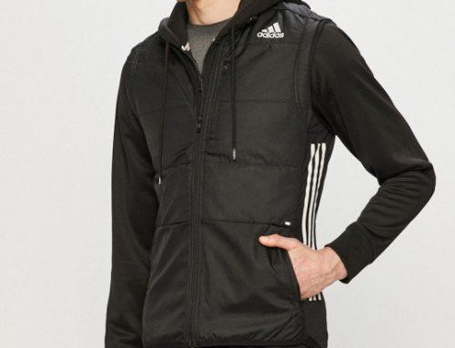 Vestă Adidas GLQz2M Performance sport pentru bărbați neagră cu buzunare și guler ridicat