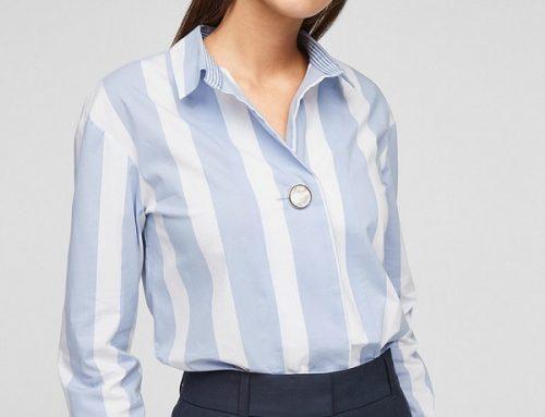 s.Oliver YL'Dsmw2T, cămașă pentru femei office cu model în dungi, din bumbac, albastru/alb