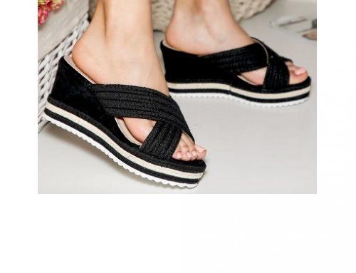 Papuci pentru femei SMQwht2L Marina cu platformă, de stradă, negri, din material textil