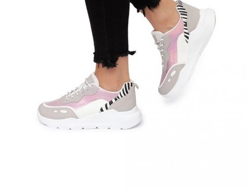Pantofi sport roz WDQsbq2ML Nurria pentru femei din imitație de piele cu imprimeu zebră