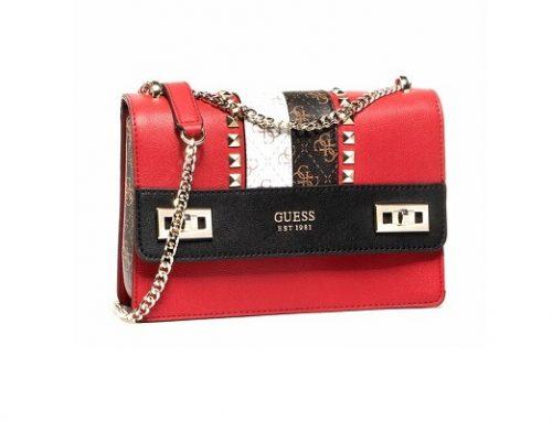 Guess LLUY3Q, geantă de damă de umăr roșie cu lanț metalic și nituri decorative