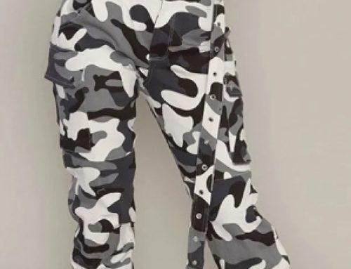 Pantaloni cu imprimeu camuflaj WSQwmq2M Diamind de damă casual din amestec de bumbac