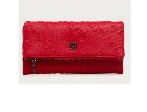 Desigual LBSQdwTF, portofel casual pentru femei roșu cu fermoar, din piele ecologică