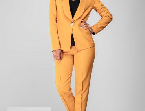 Sacou office FixF Q'Nsw2LH galben pentru femei cu guler șal și închidere cu un nasture