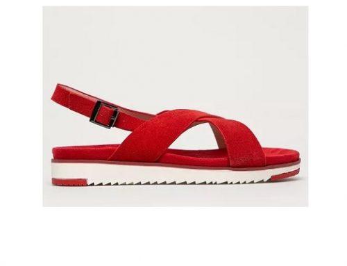 Big Star AKD3LTH, sandale de damă roșii casual cu toc plat, talpă joasă și sculptată