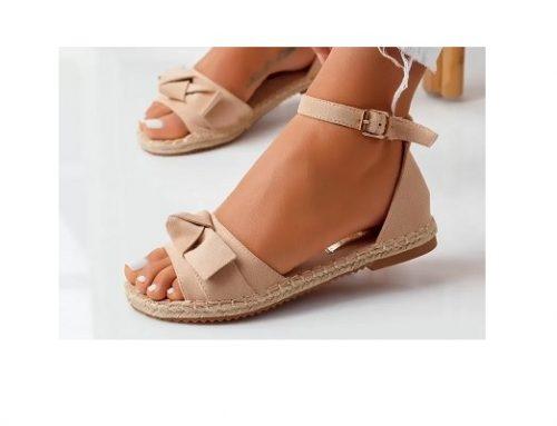 Sandale pentru femei Michelle cu toc plat și talpă joasă casual bej cu fundă decorativă