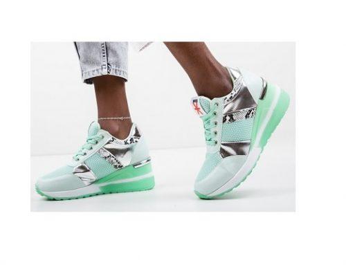 Pantofi sport Hibara pentru femei turcoaz din material textil și cu platformă