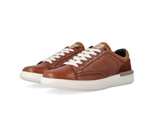 Pantofi sport bărbați YNE57Q Wrangler din piele naturală cu talpă plată, maro scorțișoară