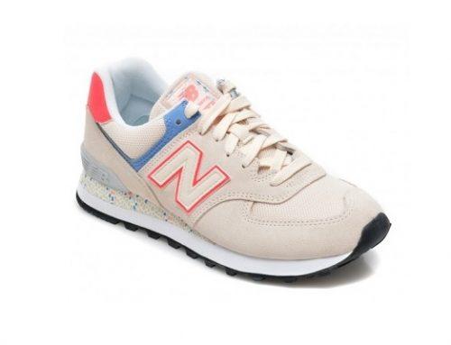 Pantofi sport de damă YUHT52Q New Balance bej din piele naturală întoarsă cu talpă intermediară
