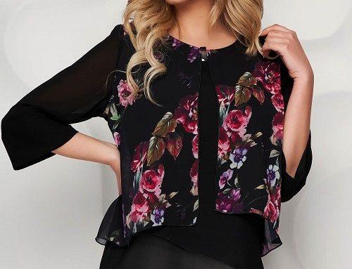 Starshiners ESL53MQ, bluză pentru femei neagră cu imprimeu floral, mâneci clopot și accesoriu metalic