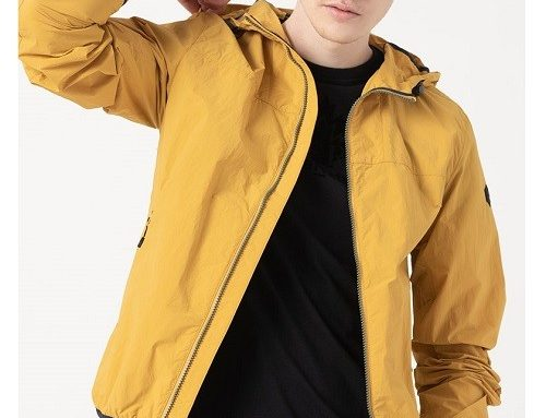 Geacă cu glugă Lumberjack New Evolution pentru bărbați scurtă galbenă cu buzunare