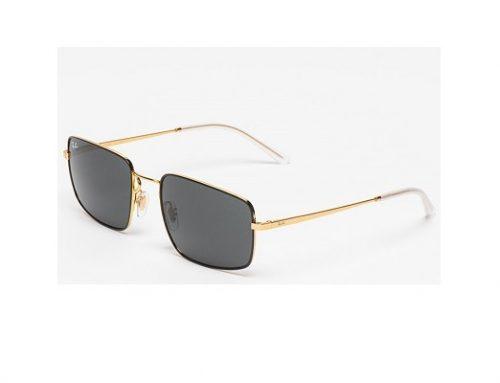 Ray-Ban LKE43BQ, ochelari de soare de damă polarizați dreptunghiulari cu lentile gri și rama aurie