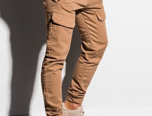 Ombre WS73NQ, pantaloni pentru bărbați de jogging bej din bumbac cu buzunare pe picior