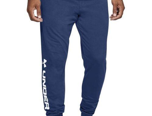 Pantaloni de trening EQD42Y Under Armour pentru bărbați din bumbac albaștri cu tiv elastic