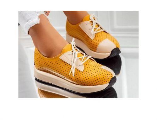Pantofi de damă Mason casual galbeni cu perforații, talpă plată și șireturi