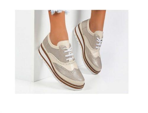 Pantofi pentru femei Laurie stil Oxford aurii casual cu șireturi și  platformă la spate