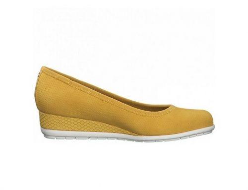 Pantofi cu platformă YNU42BTQ s.Oliver pentru femei casual galben șofran cu talpă wedge