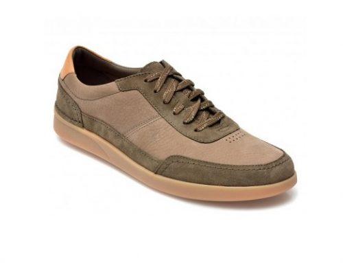 Pantofi Clarks Oakland pentru bărbați casual kaki din piele năbuc naturală cu talpă plată
