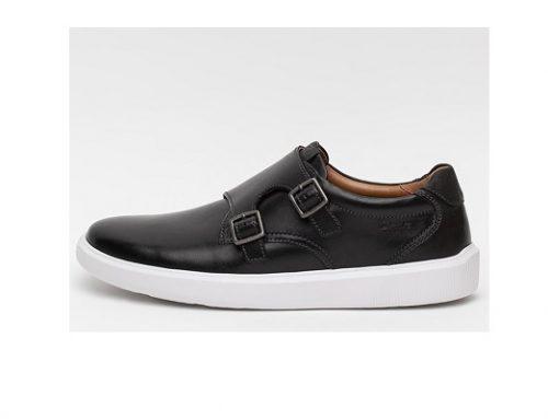 Pantofi Clarks pentru bărbați casual negri din piele naturală cu catarame și talpă joasă