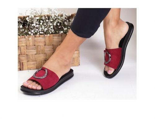 Papuci de damă Arancia casual de stradă bordo din piele întoarsă eco cu talpă plată