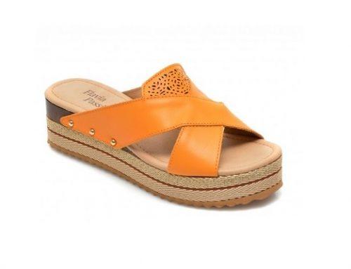 Flavia Passini GEQ36SL, papuci de damă galbeni Slip-On din piele naturală cu platformă